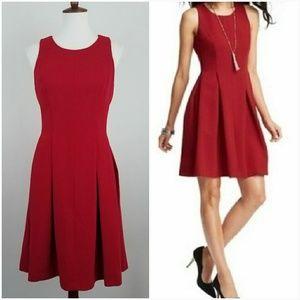 Ann Taylor LOFT Red Pleated Dress 4 Tall